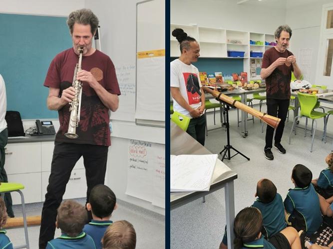 Musicians teaching other wind instruments to Kalgoorlie students.