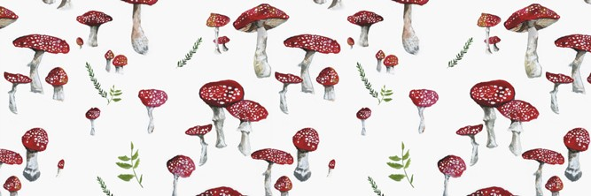 A painting of many small toadstools against a white background.