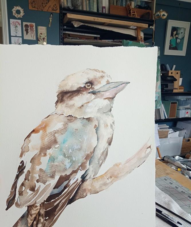 A watercolour pencil illustration of a Kookaburra.
