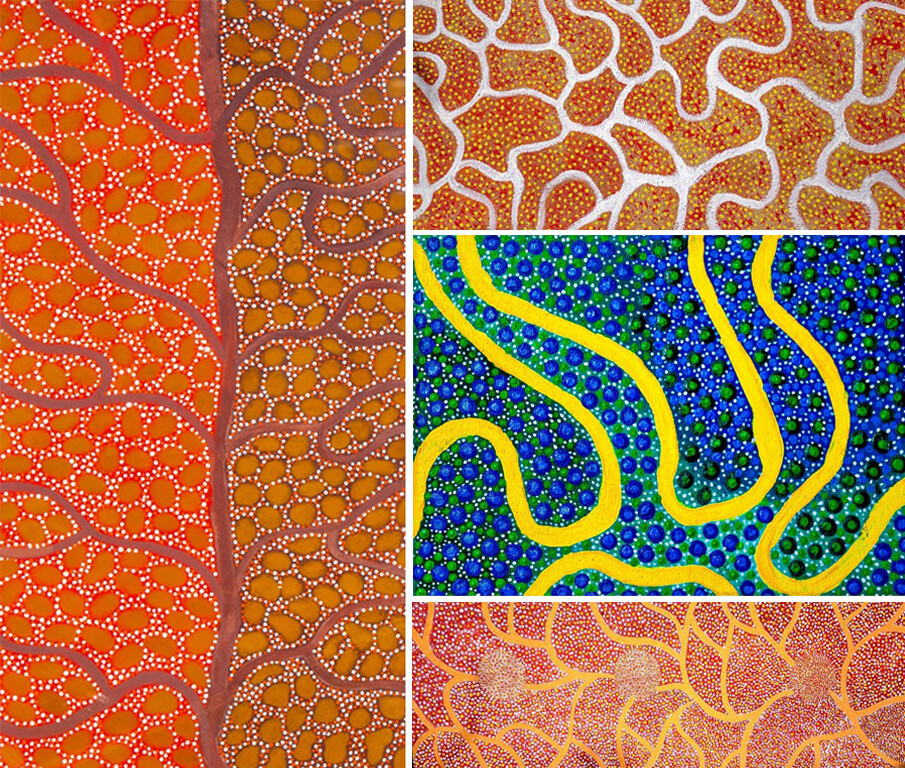 Four paintings by Bianca Long. They reflect the flow of rivers and paths of the land with long flowy lines.