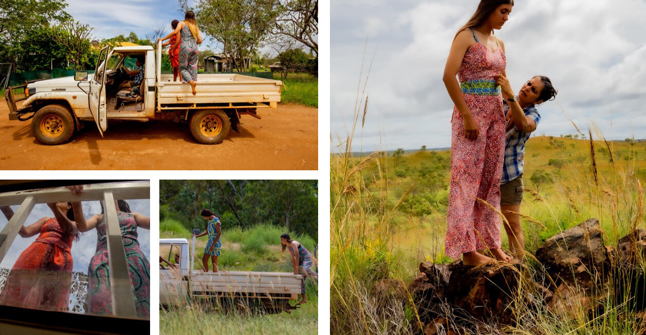 Three photos of models on the back of a dirty ute. One photo of Bianca fixing a garmet on a model who stands on a rock in a grass field.