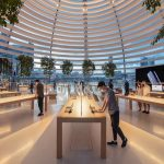 Interior of floating Apple store