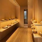 Inside narrow bakery