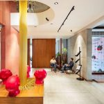 Bright coloured lobby of Sangini House