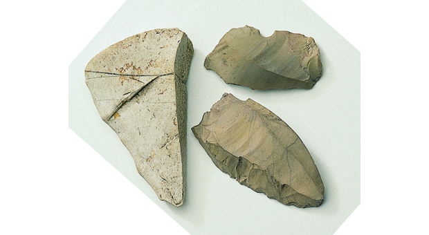 Stone artefacts from the Moores Wharf midden