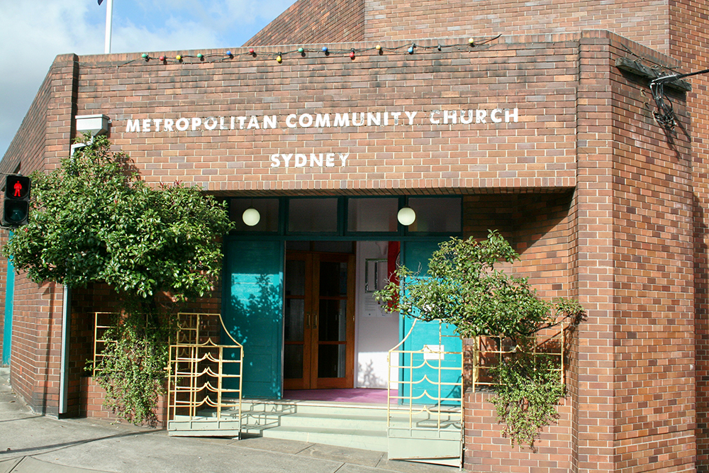 xterior of the Metropolitan Community Church Sydney's building in Petersham