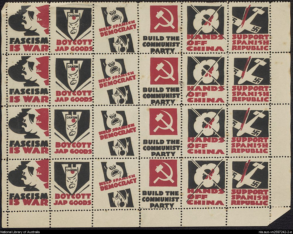 Sheet of stamps produced by the Communist Part of Australia.