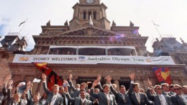 Members of the Australian Olympic Team in front of the Town Hall 1993, City of Sydney Archives NSCA CRS 904/1356