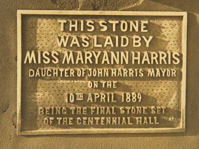 Centennial Hall topstone