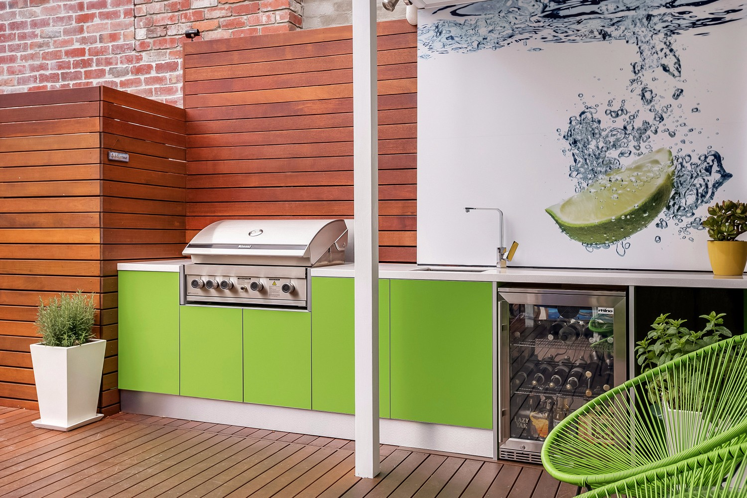 green machine a colourful and creative outdoor kitchen