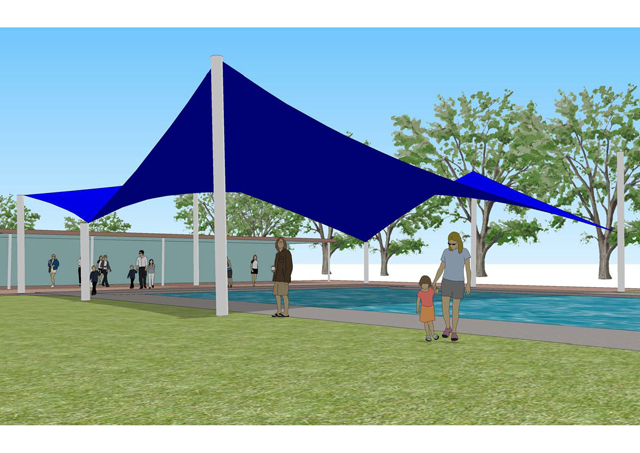 Large Shade Sail Over Swimming Pool Project Ods