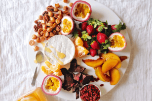 Meg's Extremely Sexy & Versatile Platter with Maple-Cinnamon Nuts & Rooibos-Poached Pears