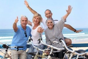 Happy people with cycles
