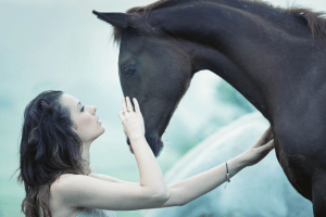 Horse woman healing happy love beauty