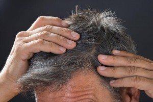 Close-up of man examining his white hair