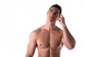 muscular man thinking scratching his head
