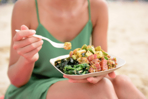 skin healthy beauty food salad fish poke clean eating health wellbeing