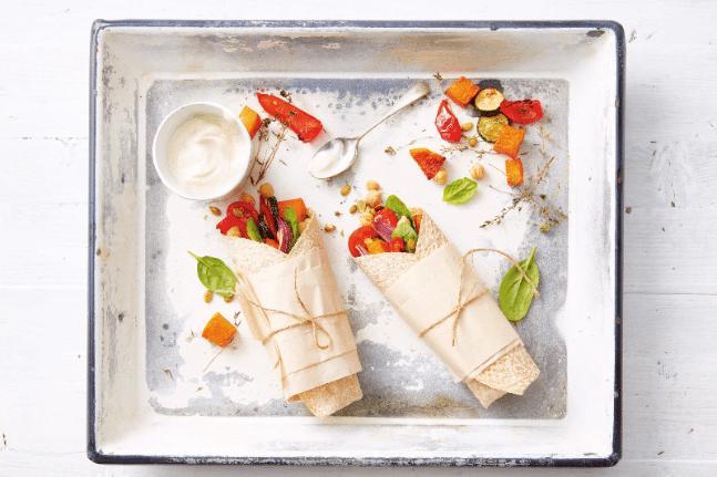Mediterranean Roasted Vegetable & Chickpea Wrap