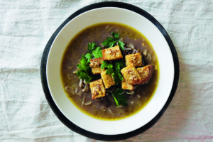 Caramelised Onion & Lentil Soup with Mustard Parmesan Croutons