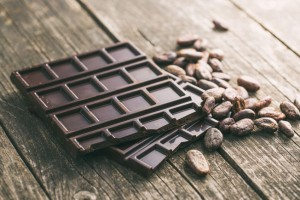 dark chocolate and cocoa beans