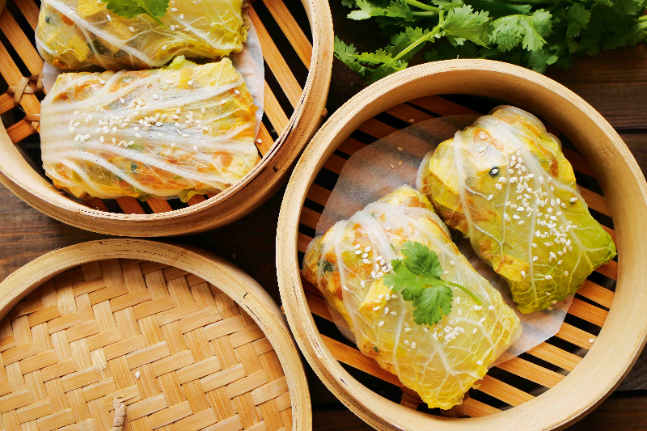Steamed Tofu and Cabbage Rolls Recipe