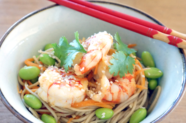 Soba Noodles With Prawns & Edamame