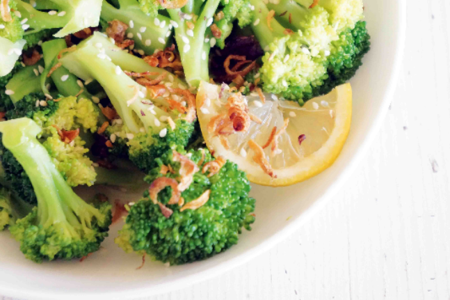 Two-minute Broccoli with Sesame and Fried Shallots Recipe