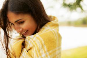 woman love happy smile self love confident river blanket health