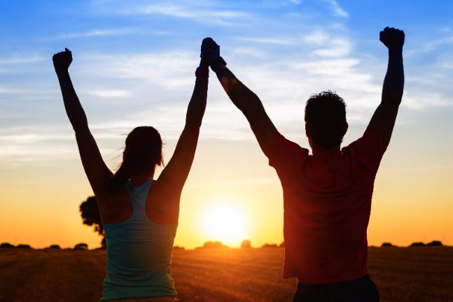 couple sunset happy woman man love strength