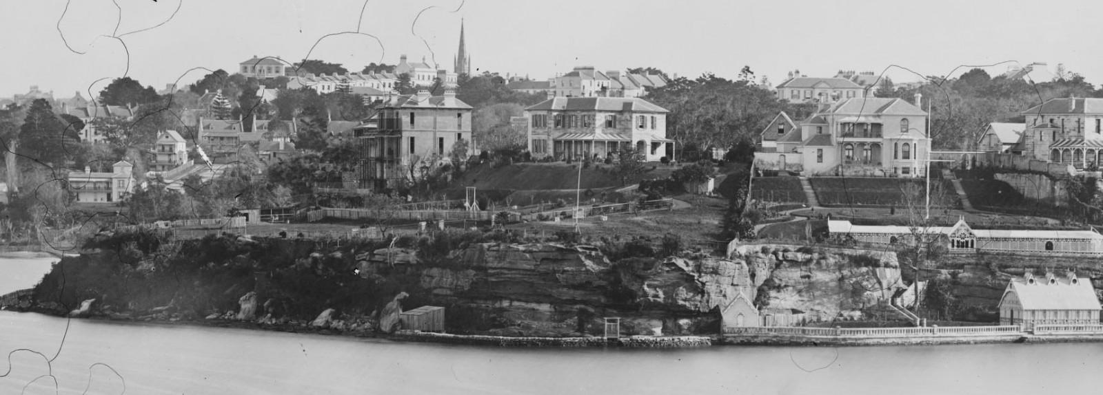 The grand Kincoppal residence (left) in 1875