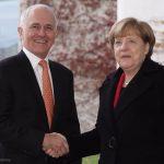 Australian PM Malcolm Turnbull and German Chancellor Angela Merkel.