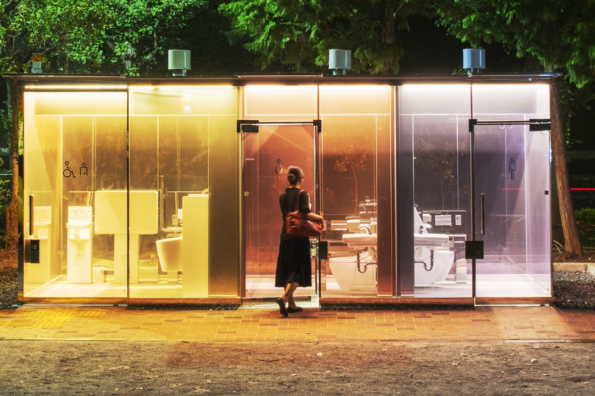Shigeru Ban's transparent public toilets turn opaque when occupied