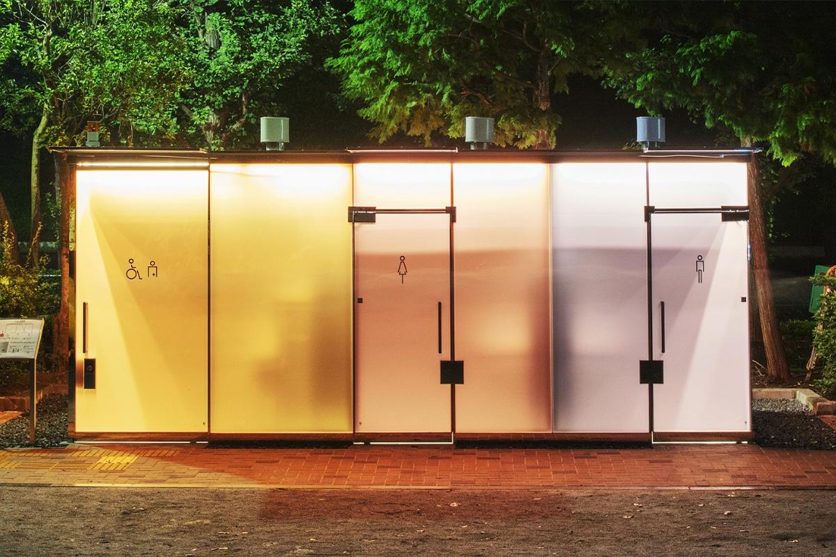 Shigeru Ban's transparent public toilets turn opaque when occupied