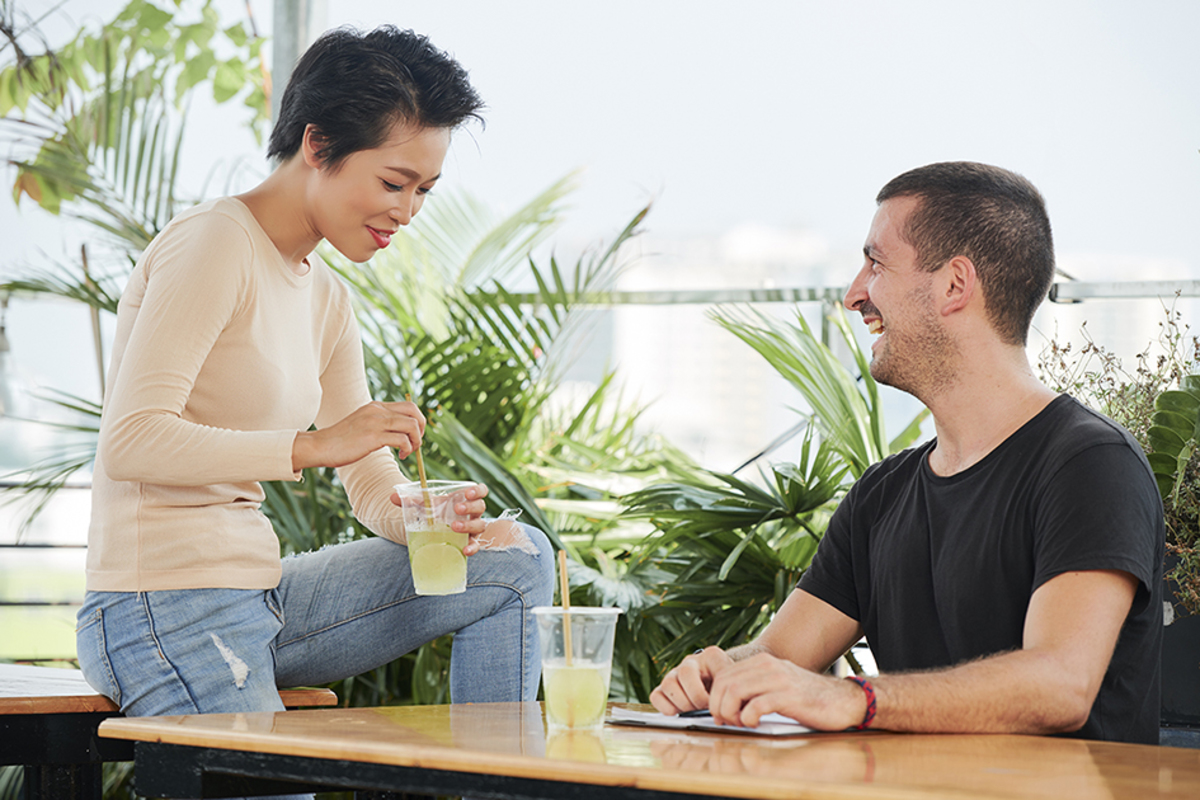 Couple meeting cafe
