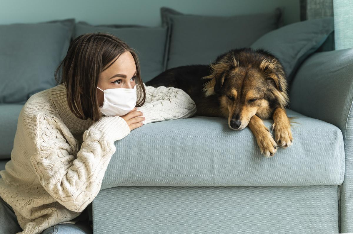 Woman sitting her dog home during pandemic