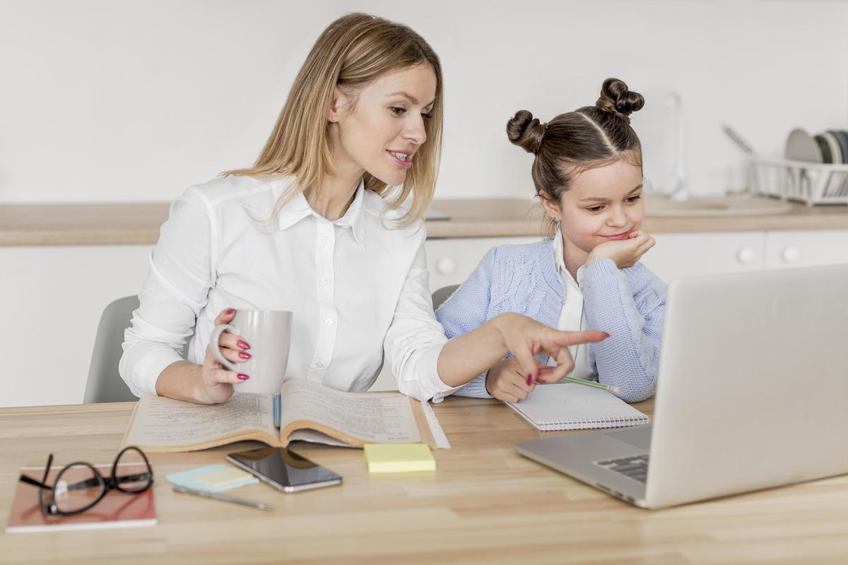 Mother daughter doing classes together