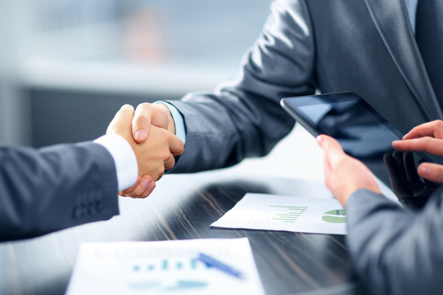 Handshake business deal agreement working together sales rep challenger large