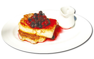 French Toast with Berry Compote & Maple Syrup ($13.50)