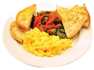 Scrambled eggs,smoked salmon,caper & greens with toast