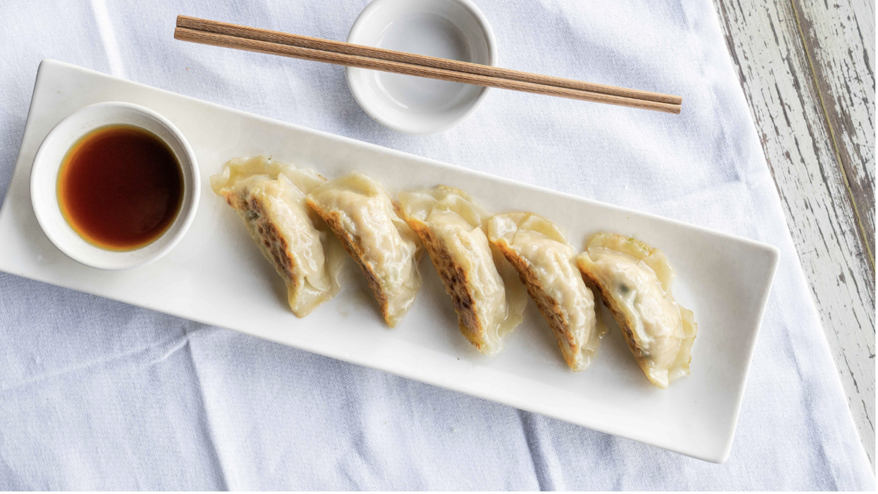 Pan fried pork gyoza