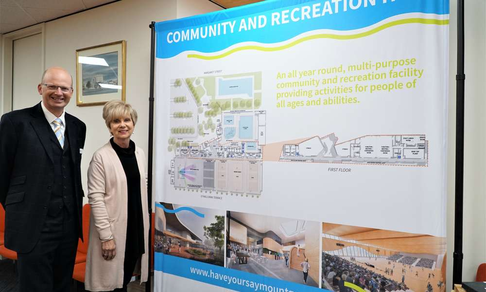 City of Mount Gambier CEO Andrew Meddle and Mayor Lynette Martin with the detailed design for the Community and Recreation Hub.