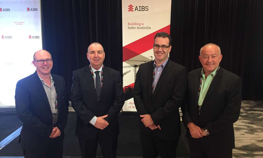 City of Mount Gambier Building Officer Paul Gibbs (left), Australian Institute of Building Surveyors (AIBS) Chief Executive Officer Brett Mace, AIBS Board president Troy Olds and City of Mount Gambier consulting Building Surveyor Dave Vandborg at the 2019 National Construction Code Symposium in Canberra.