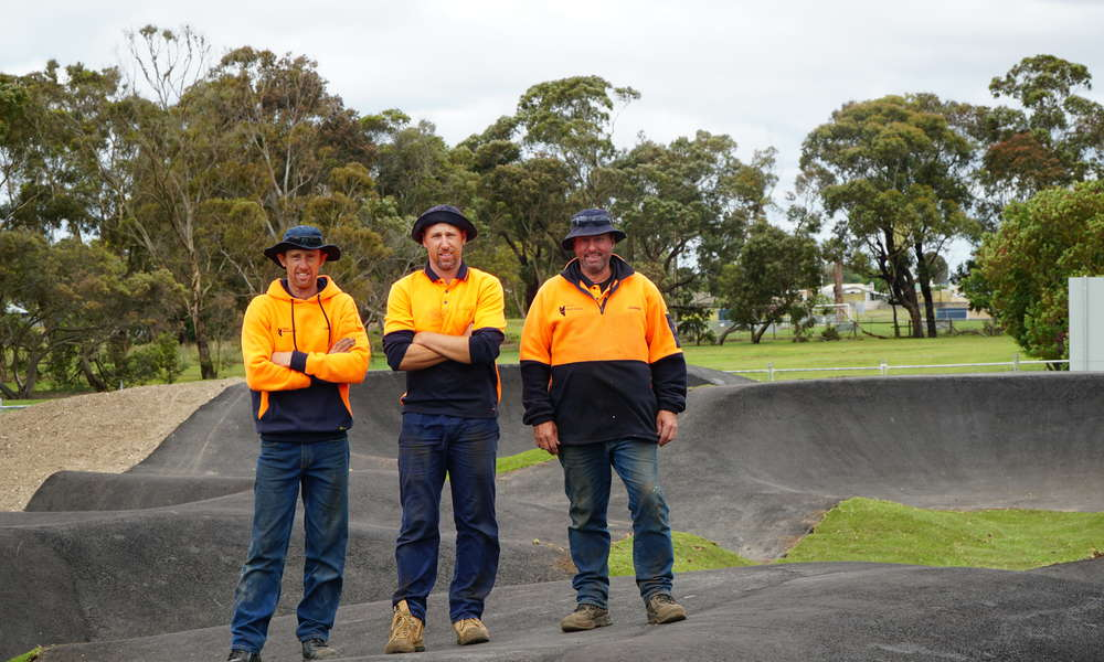 City of Mount Gambier Acting Works Manager Infrastructure Chris Habets and Construction and Maintenance workers Hayden Cook and Darren Kain have been busy putting the final landscaping touches on the new Mount Gambier Pump Track.