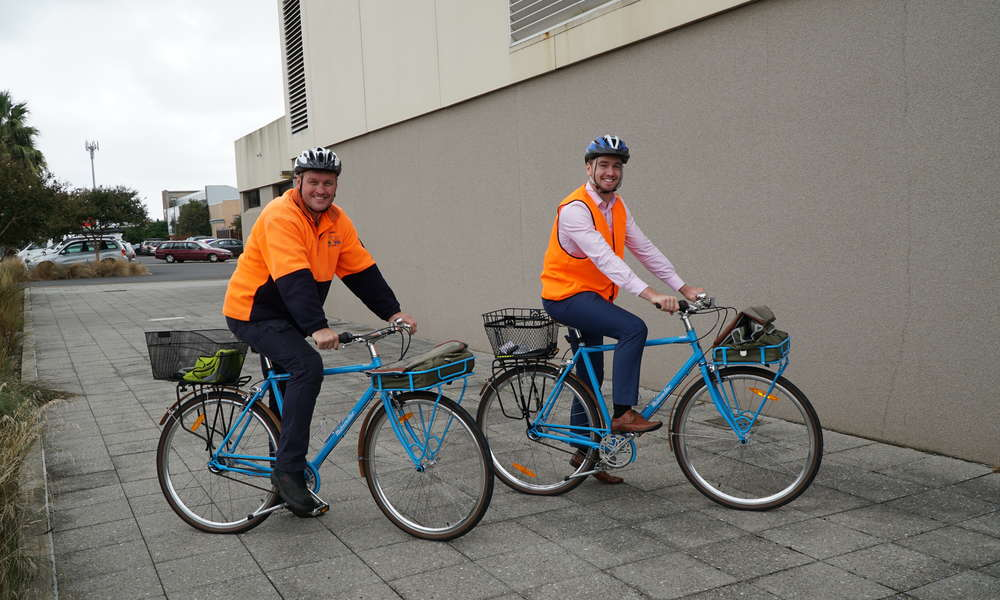 City of Mount Gambier employees Jamie Pearson and Andrew Thompson gearing up for Ride2Work Day.
