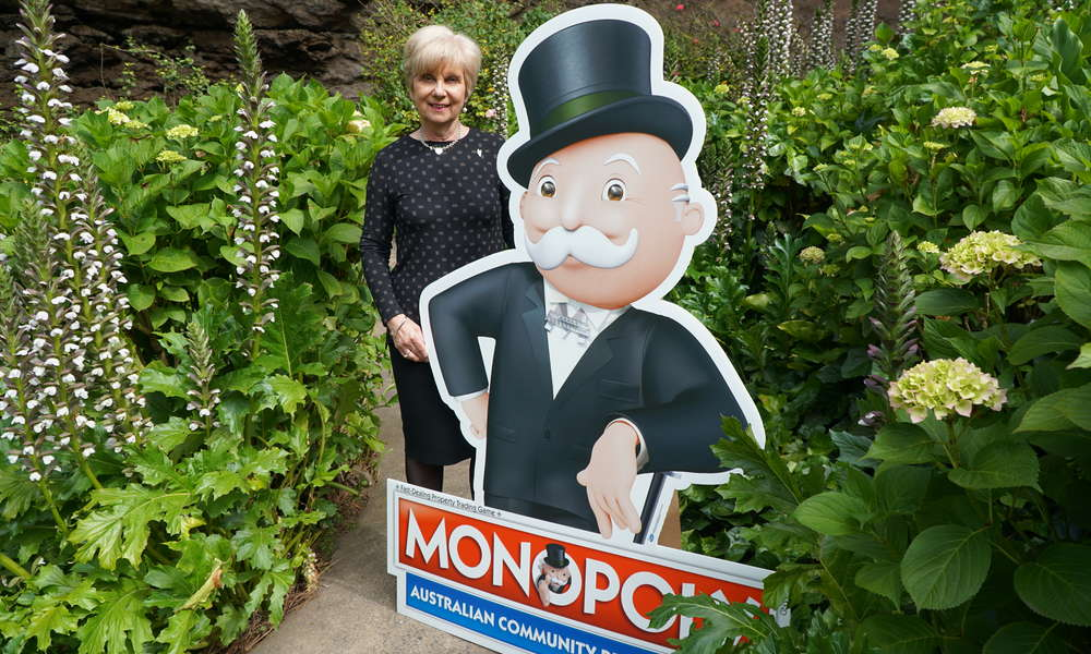 City of Mount Gambier Mayor Lynette Martin with Mr Monopoly at Umpherston Sinkhole.