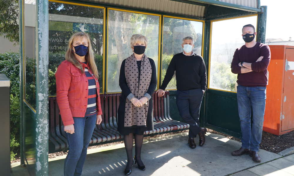 Mayor Lynette Martin and Councillors Sonya Mezinec, Frank Morello and Ben Hood at the Ferrers Street bus stop.