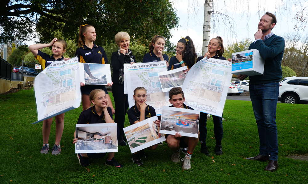 Reidy Park Year 7 Leadership Team members Mackye, Leila, Bree, Millie, Taylor, Lara, Ruby and Amity think about potential names for the Mount Gambier Community and Recreation Hub with Mayor Lynette Martin and Regional Sport and Recreation Committee  Presiding Member Cr Ben Hood.