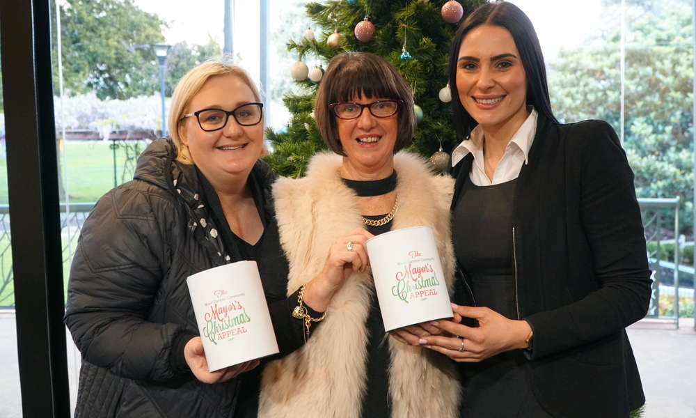 Sarah Barney, Wendy Richardson and Tahlia Gabrielli will assist the 2019 Mount Gambier Community Mayor's Christmas Appeal by displaying donation tins at their respective businesses.