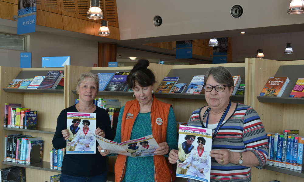 Judith Krishnappa, Julianne Woodruff and Lynn Lowe check out the range of events and activities on offer as part of the City of Mount Gambier Modern Ageing program.