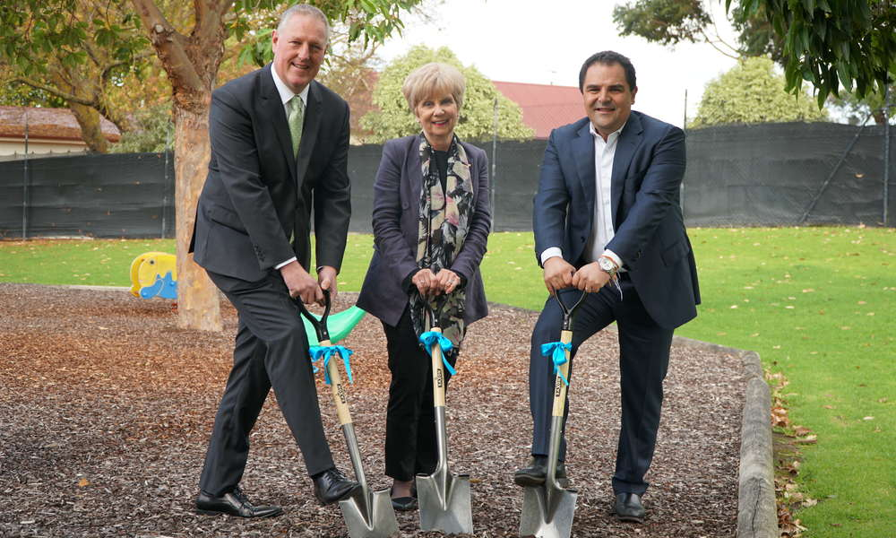 HISTORY MAKING: Member for Mount Gambier Troy Bell, City of Mount Gambier Mayor Lynette Martin OAM and Member for Barker Tony Pasin break ground at the sod turning ceremony at the Mount Gambier Aquatic Centre this afternoon.